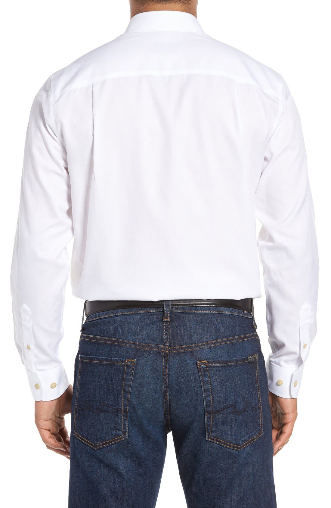 San Juan Classic Fit Wrinkle Free Solid Sport Shirt,                             Alternate thumbnail 2, color,                             White