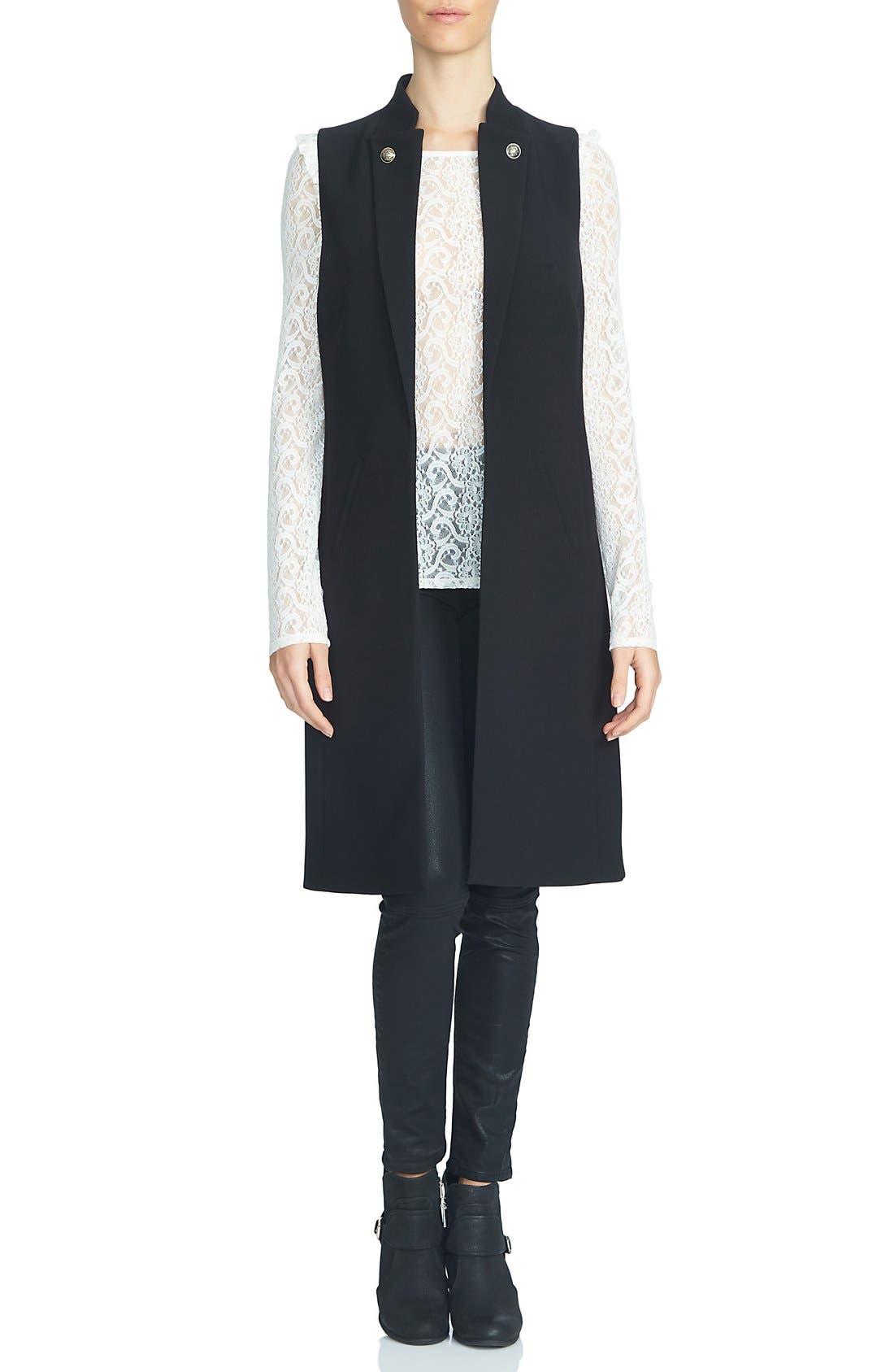 Button Lapel Longline Vest,                         Main,                         color, Rich Black
