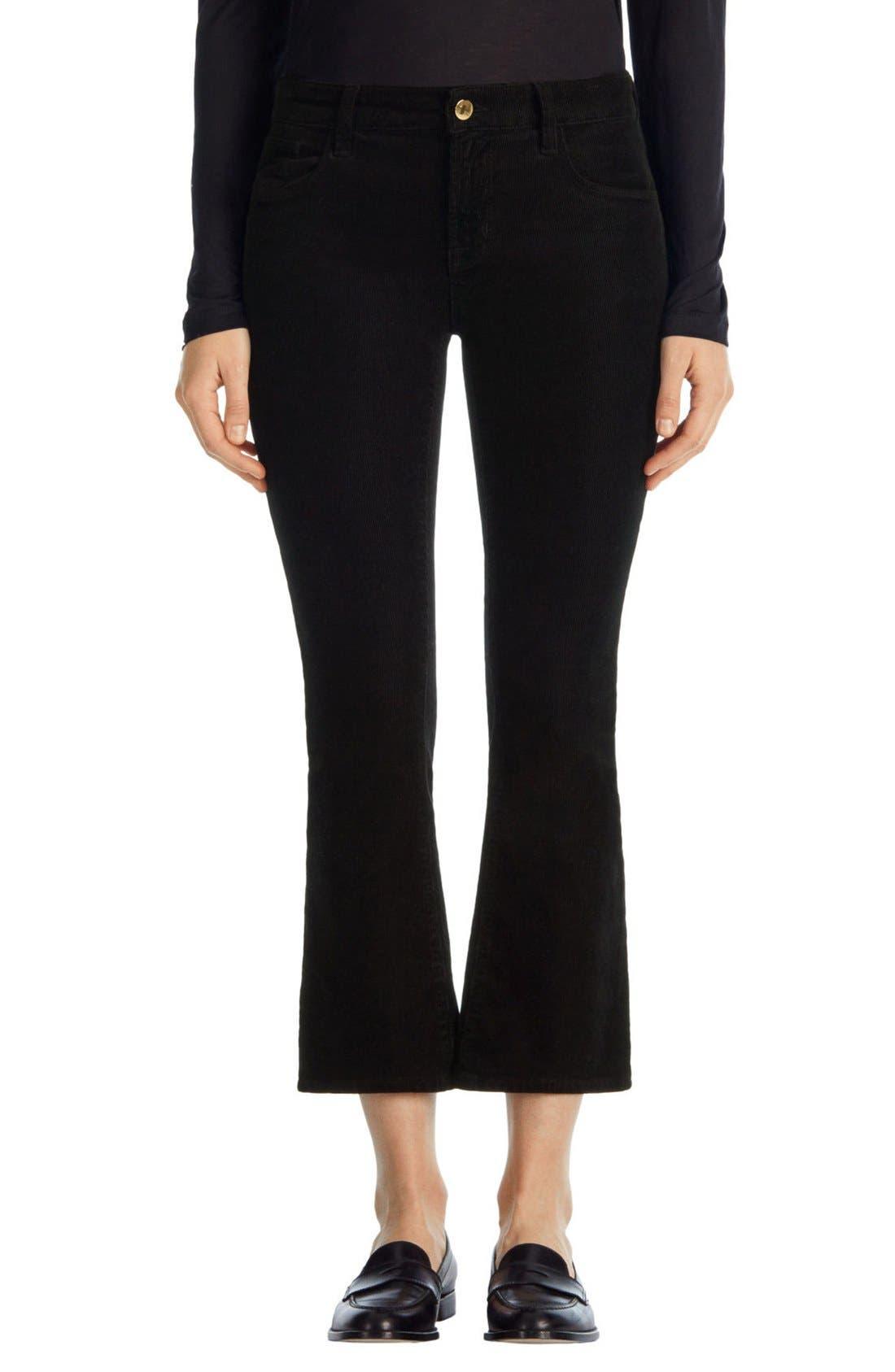 'Selena' Crop Bootcut Corduroy Pants,                             Main thumbnail 1, color,                             Black