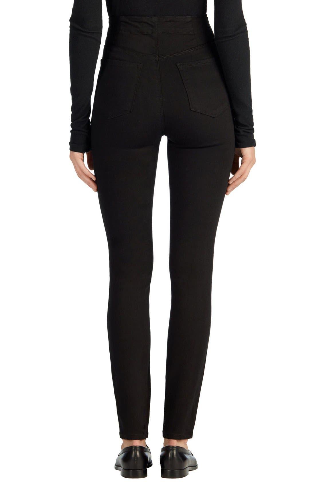 Alternate Image 3  - J Brand Natasha Sky High High Waist Skinny Jeans (Seriously Black)