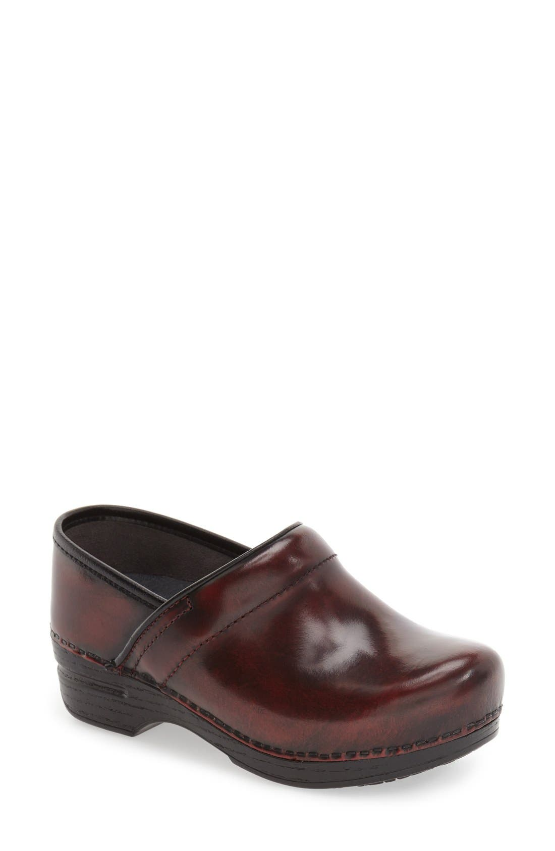 'Pro XP' Patent Leather Clog,                             Main thumbnail 1, color,                             Burgundy Cabrio Patent Leather