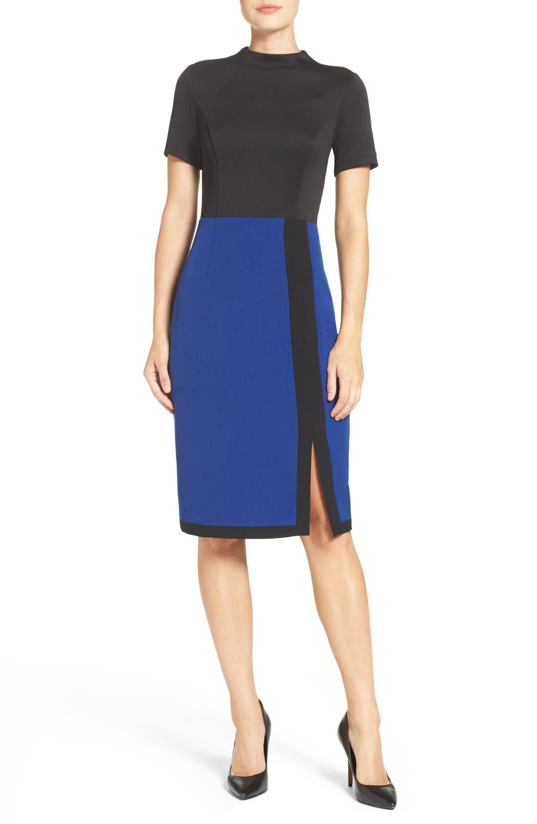 Scuba & Crepe Sheath Dress,                             Alternate thumbnail 4, color,                             Black/ Navy