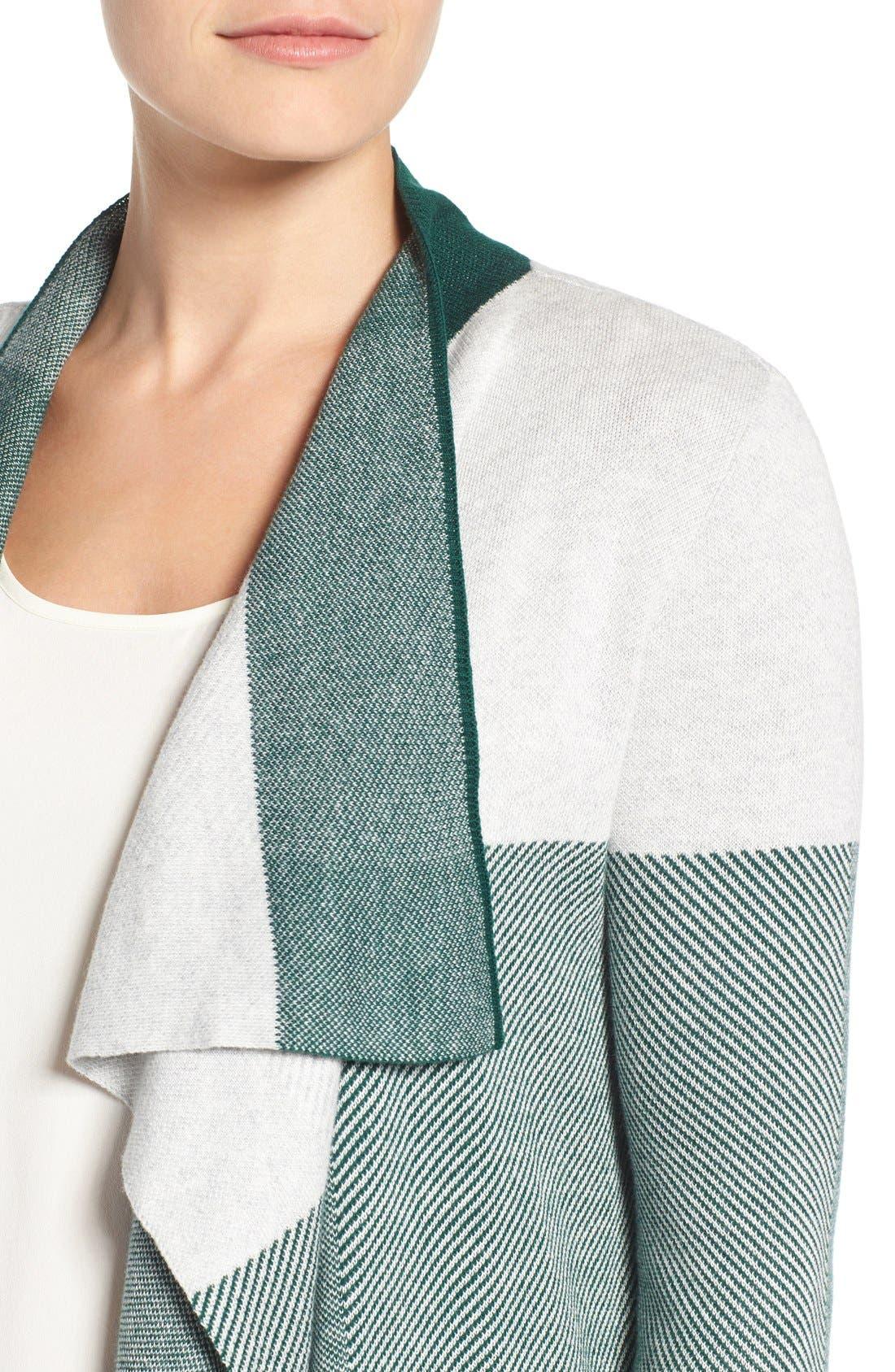 Alternate Image 4  - Chaus Colorblock Jacquard Drape Front Cardigan
