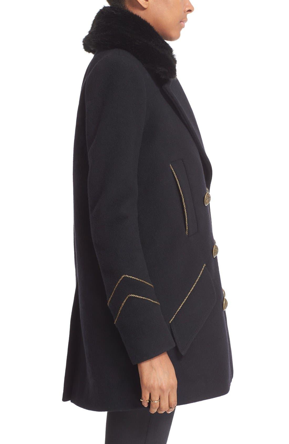 'Sedgwick' Detachable Faux Fur Collar Peacoat,                             Alternate thumbnail 4, color,                             Navy
