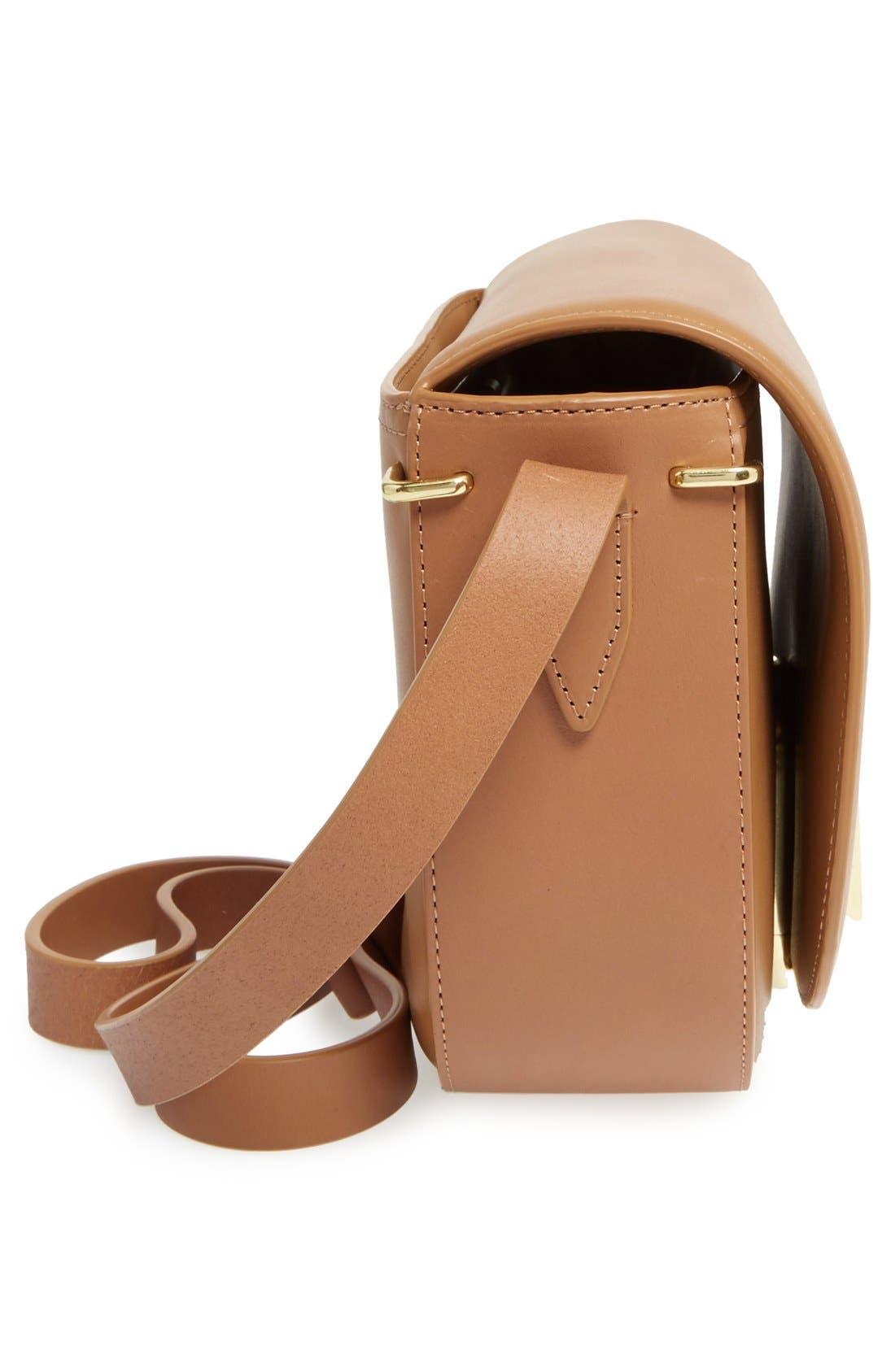 Alix Leather Saddle Bag,                             Alternate thumbnail 5, color,                             Camel