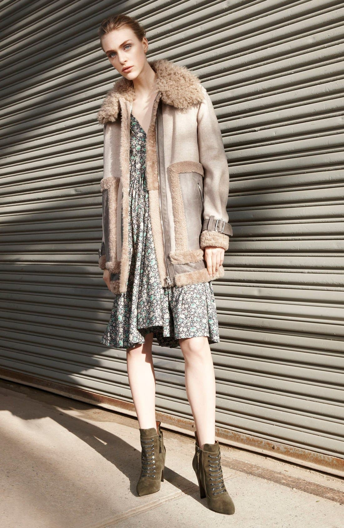 Alternate Image 7  - Rebecca Taylor Genuine & Faux Shearling Mixed Media Coat