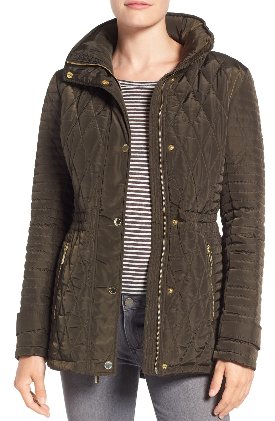 Quilted Anorak,                         Main,                         color, Dark Moss