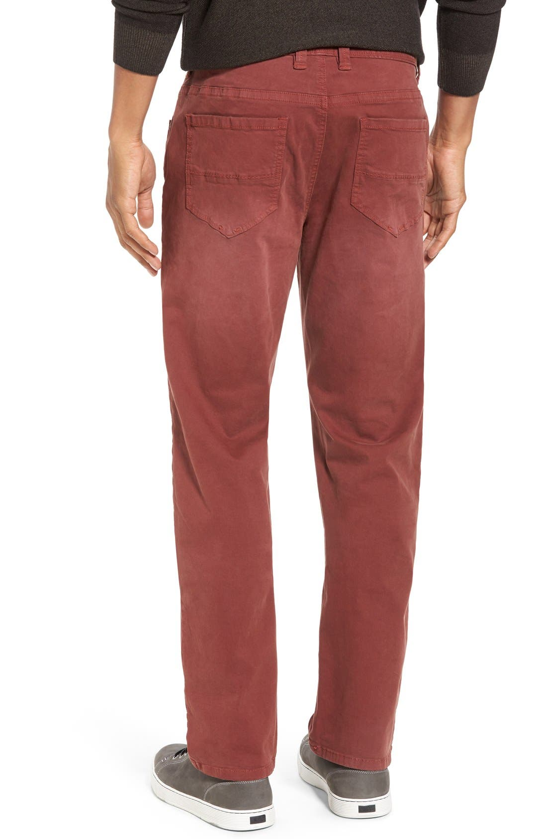 'Santiago' Washed Twill Pants,                             Alternate thumbnail 2, color,                             Maroon