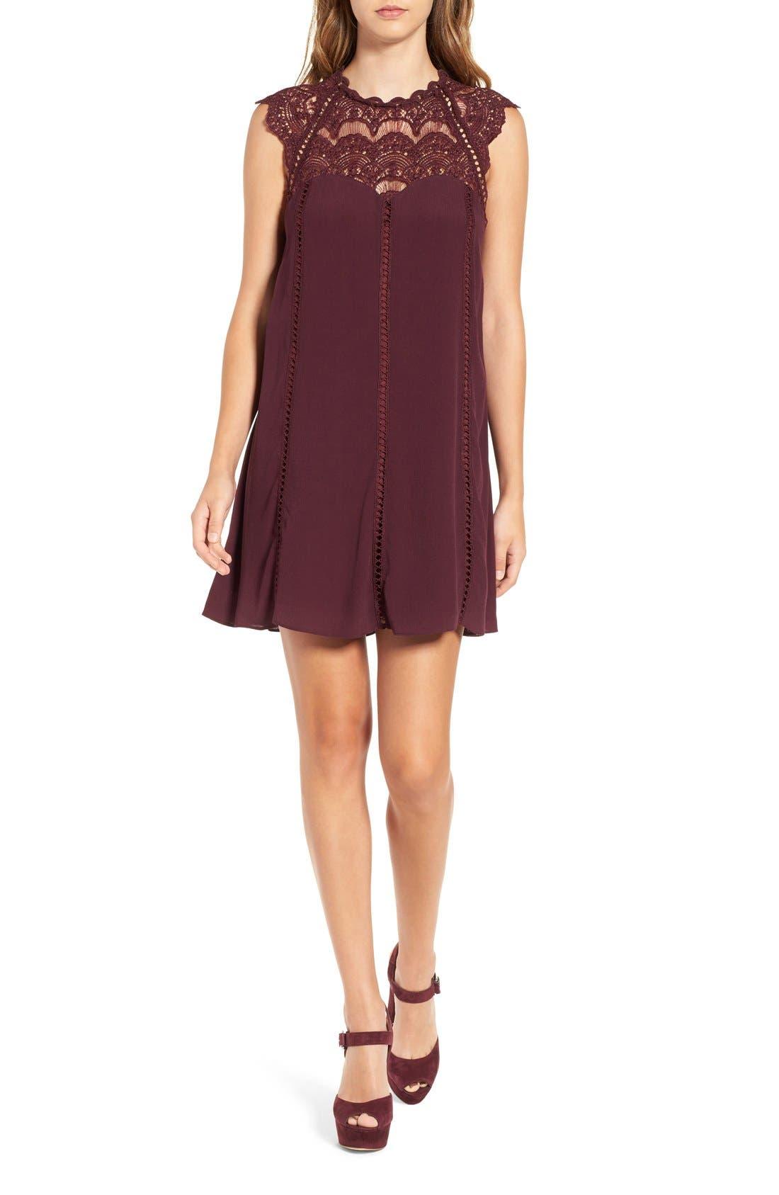 Alternate Image 1 Selected - 4SI3NNA Lace Yoke Shift Dress