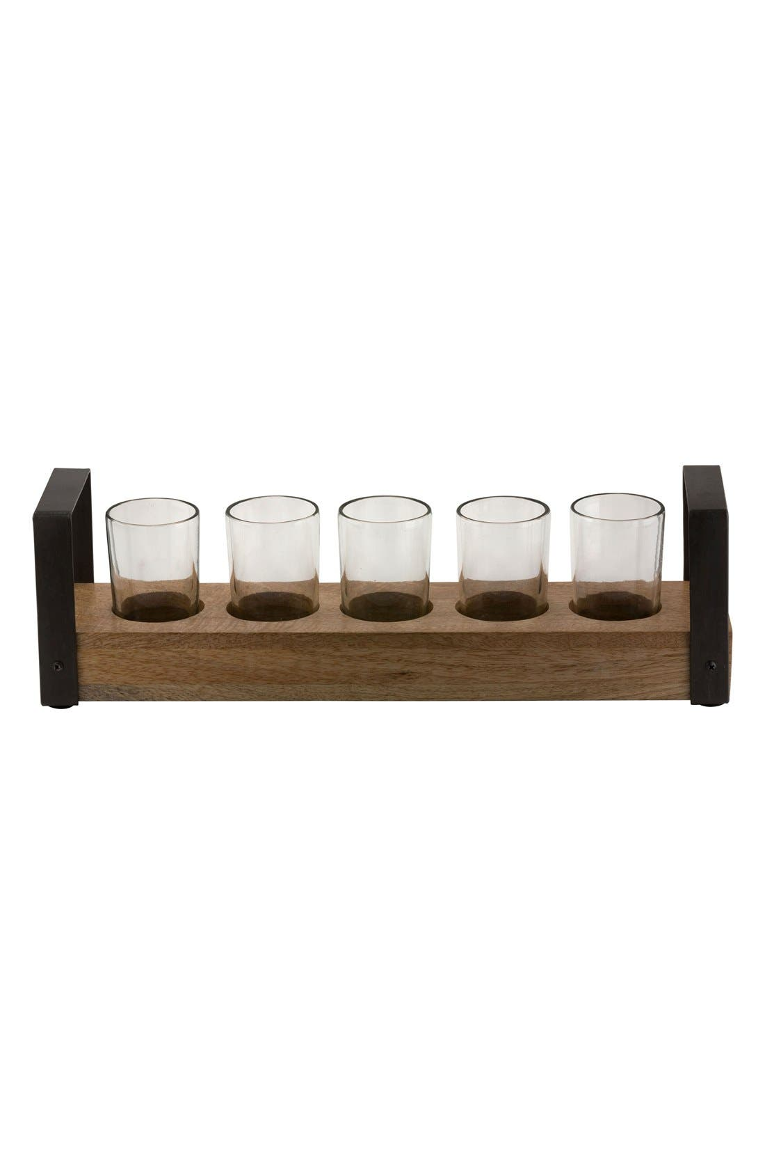 10 Strawberry Street Wooden Condiment Tray & Shot Glasses (6-Piece)