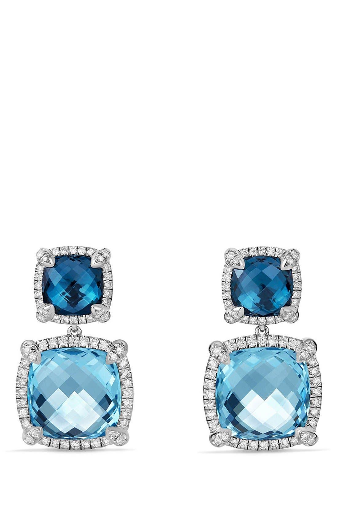 Alternate Image 1 Selected - David Yurman 'Châtelaine' Pavé Bezel Double Drop Earrings with Diamonds