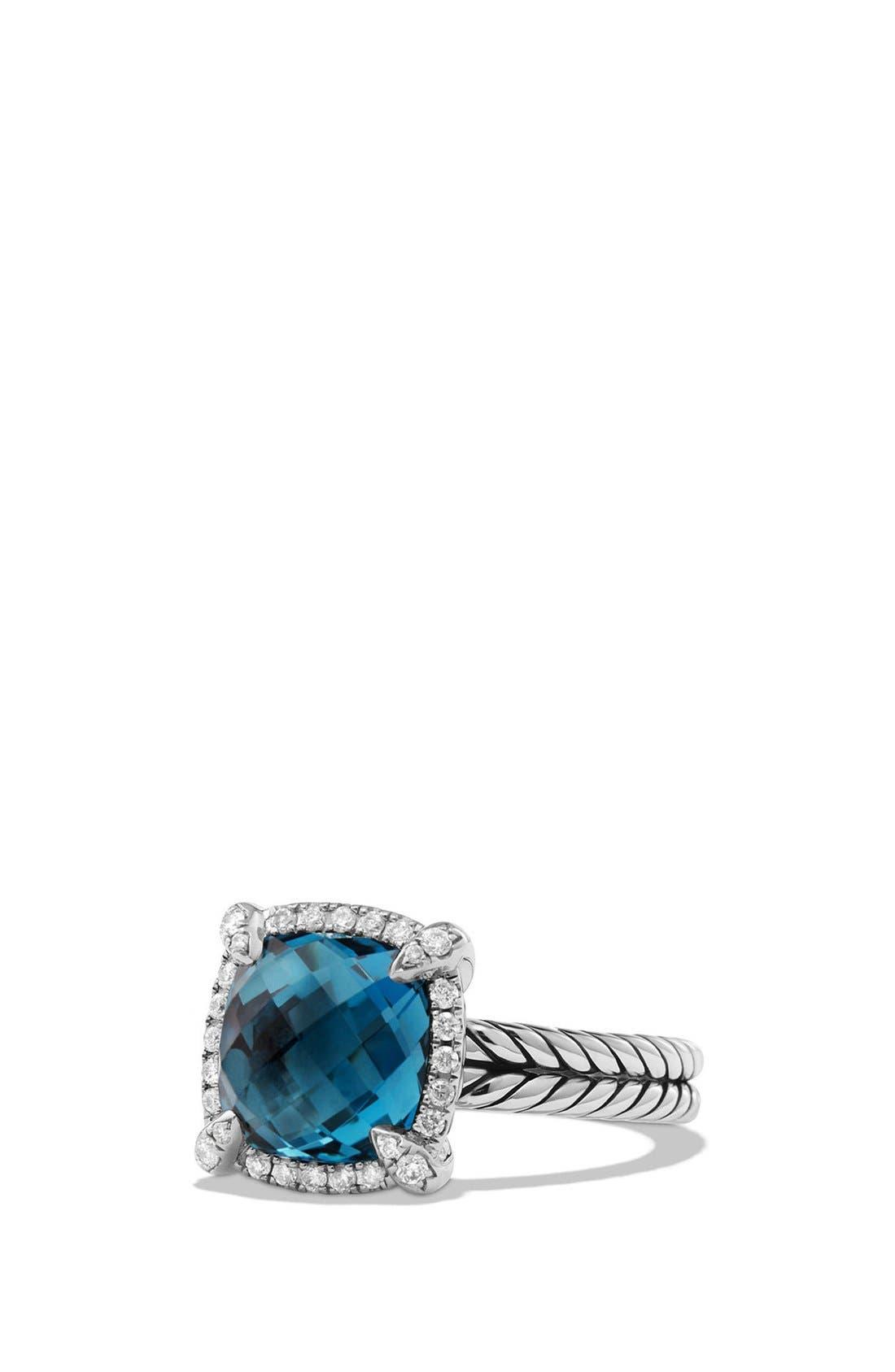 'Châtelaine' Small Pavé Bezel Ring with Diamonds,                         Main,                         color, Blue Topaz