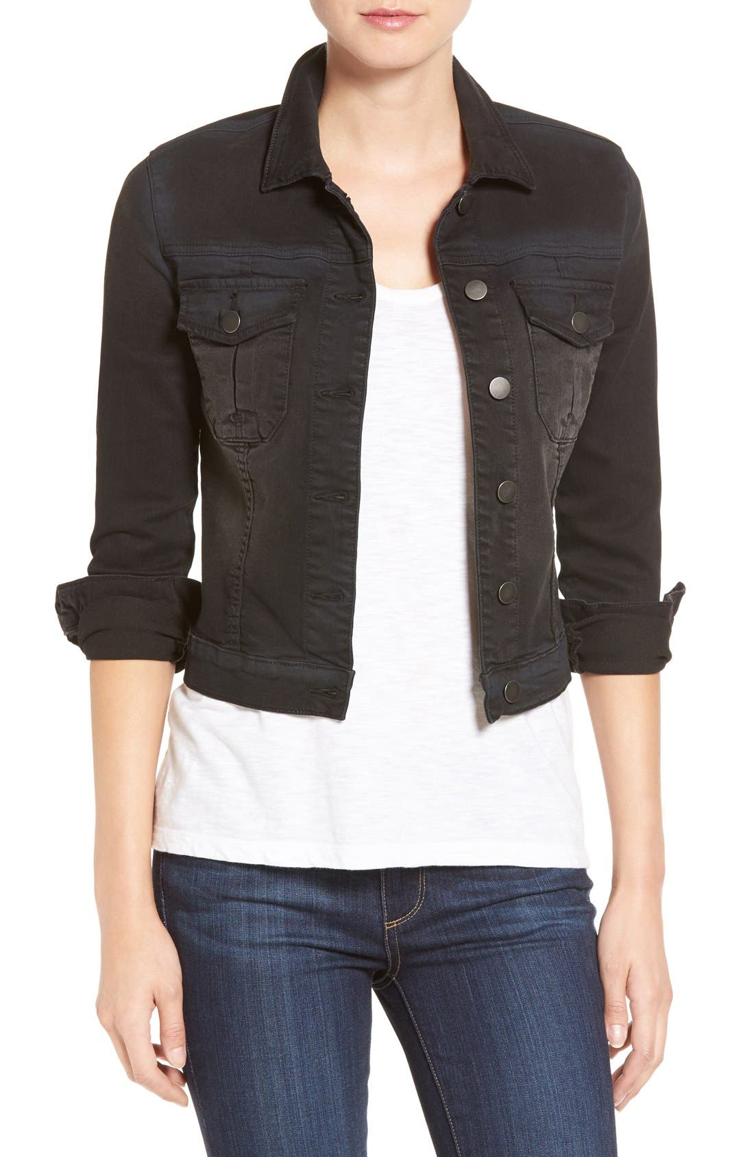 'Amelia' Denim Jacket,                         Main,                         color, Black
