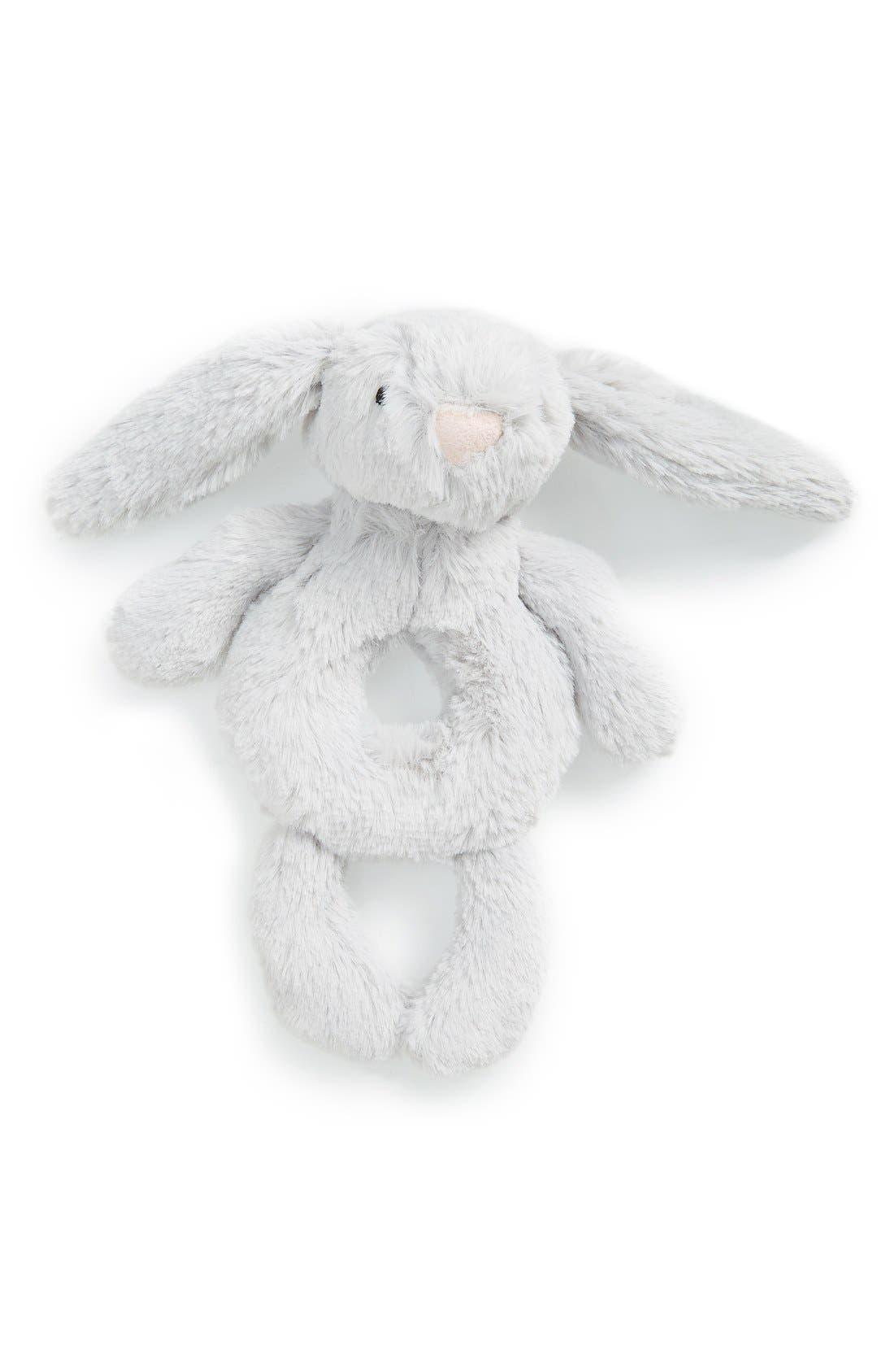 'Bashful Grey Bunny' Grabber Rattle,                         Main,                         color, Grey