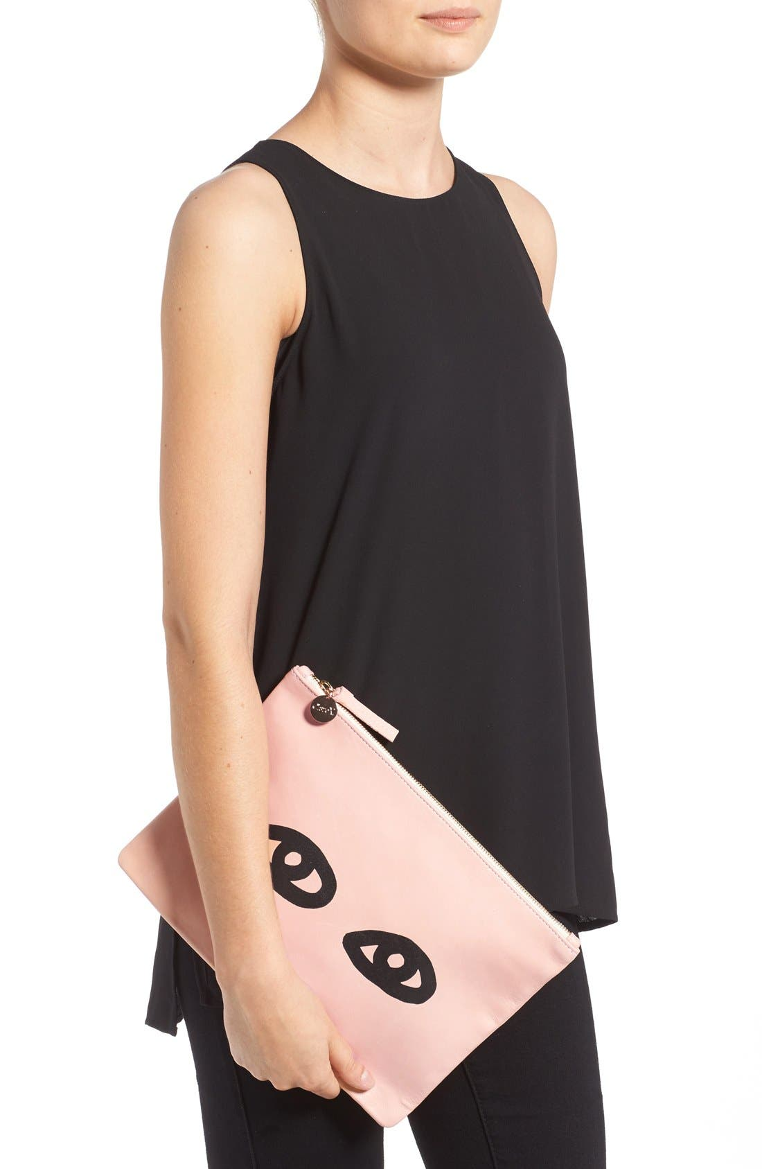 Alternate Image 6  - Clare V. 'Eyes' Printed Nappa Leather Clutch