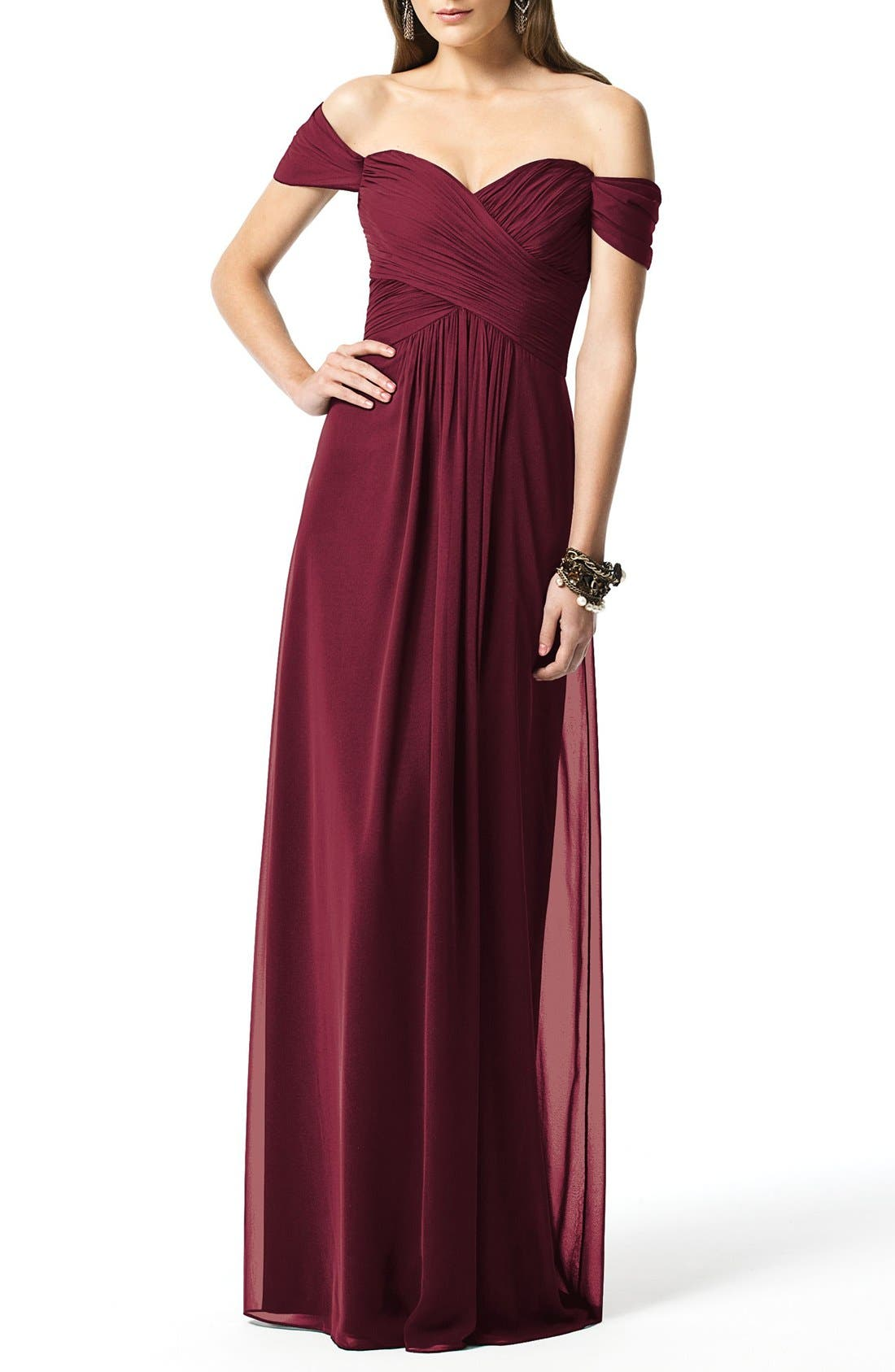Ruched Chiffon Gown,                         Main,                         color, Burgundy