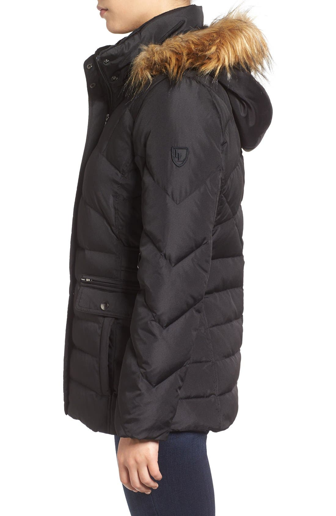 Alternate Image 3  - Larry Levine Water Repellent Quilted Jacket with Faux Fur Trim
