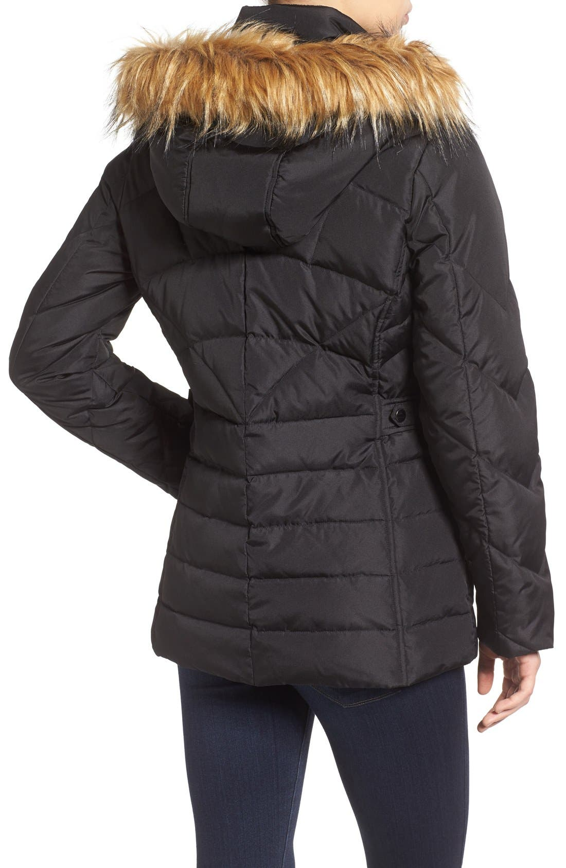 Alternate Image 2  - Larry Levine Water Repellent Quilted Jacket with Faux Fur Trim