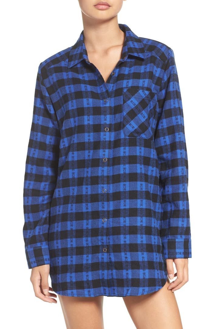 Make model flannel nightshirt nordstrom for Womens flannel night shirts