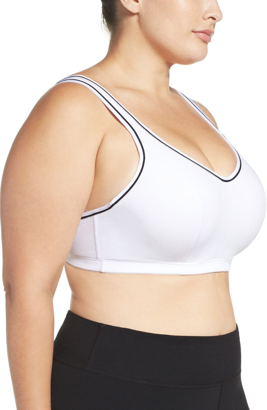 'Gabriella' Underwire Sports Bra,                             Alternate thumbnail 3, color,                             White