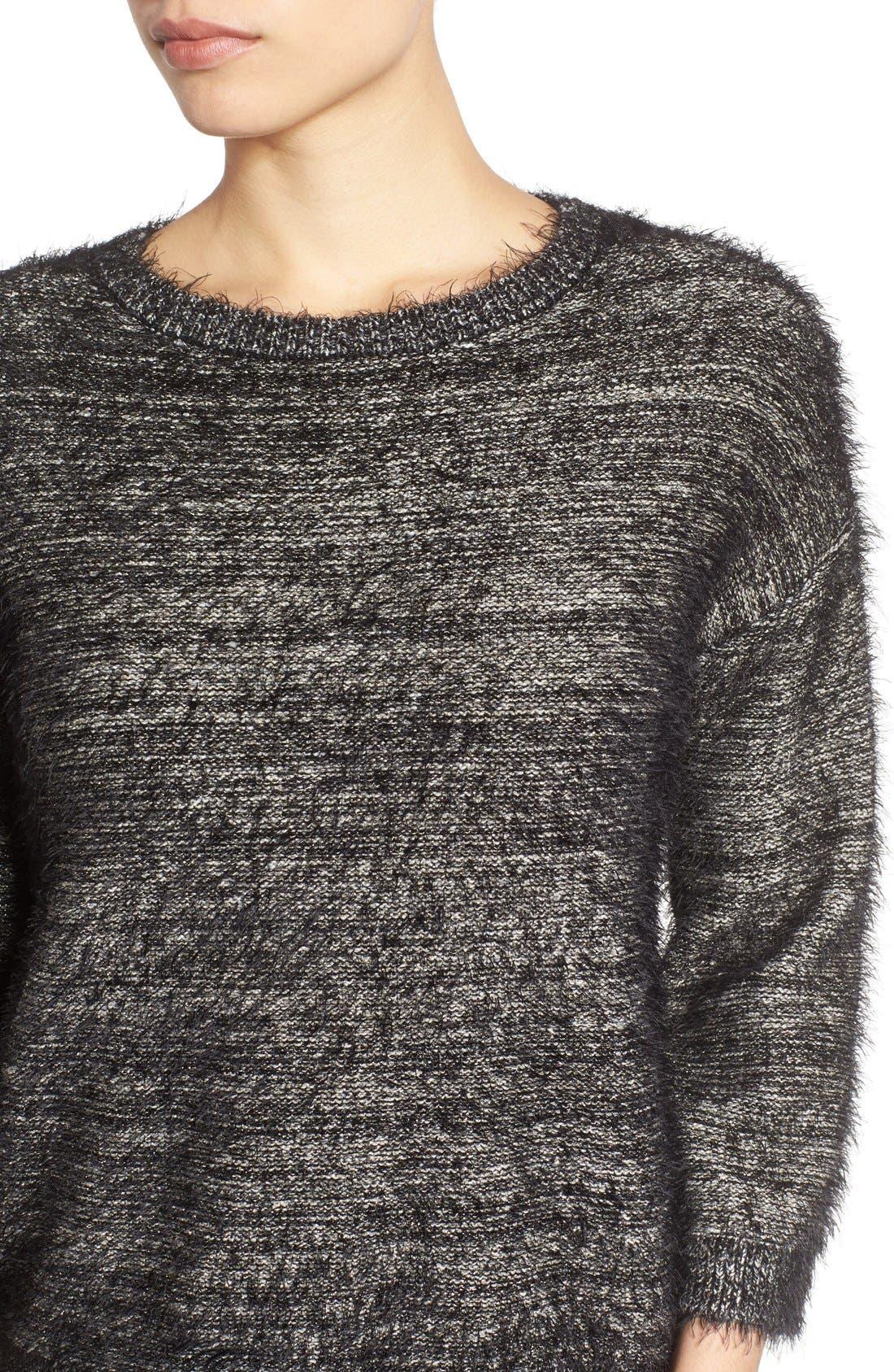 Alternate Image 4  - Halogen® Metallic Eyelash Knit Sweater