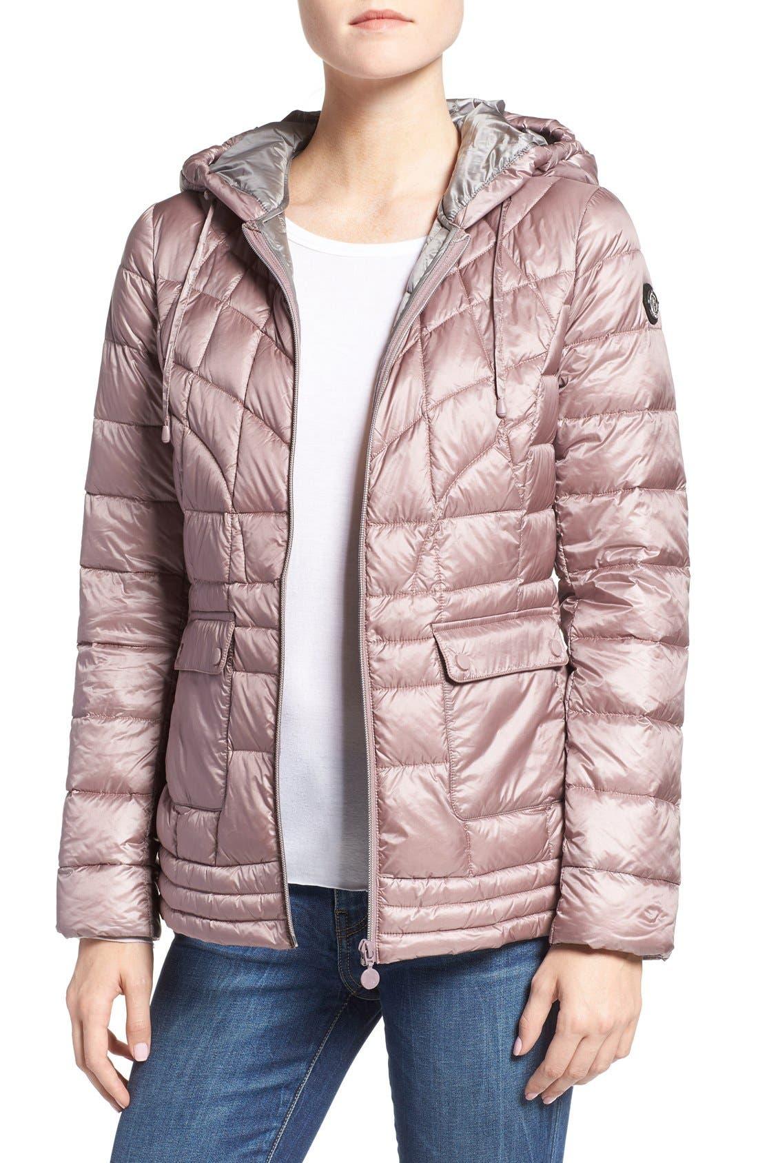 Alternate Image 1 Selected - Bernardo Packable Down & PrimaLoft® Fill Hooded Jacket (Regular & Petite)