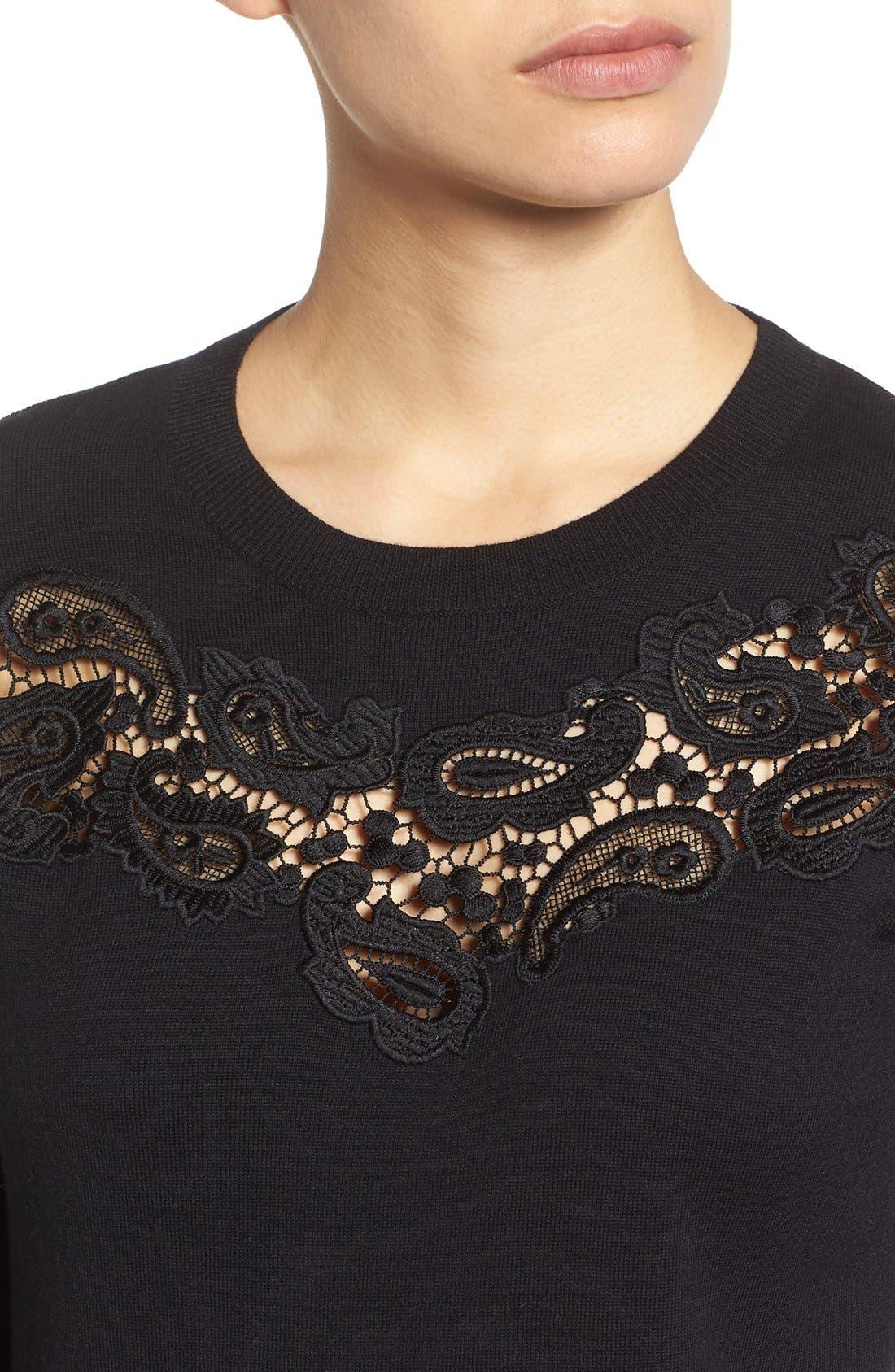 Alternate Image 4  - Halogen® Lace Inset Sweater (Regular & Petite)