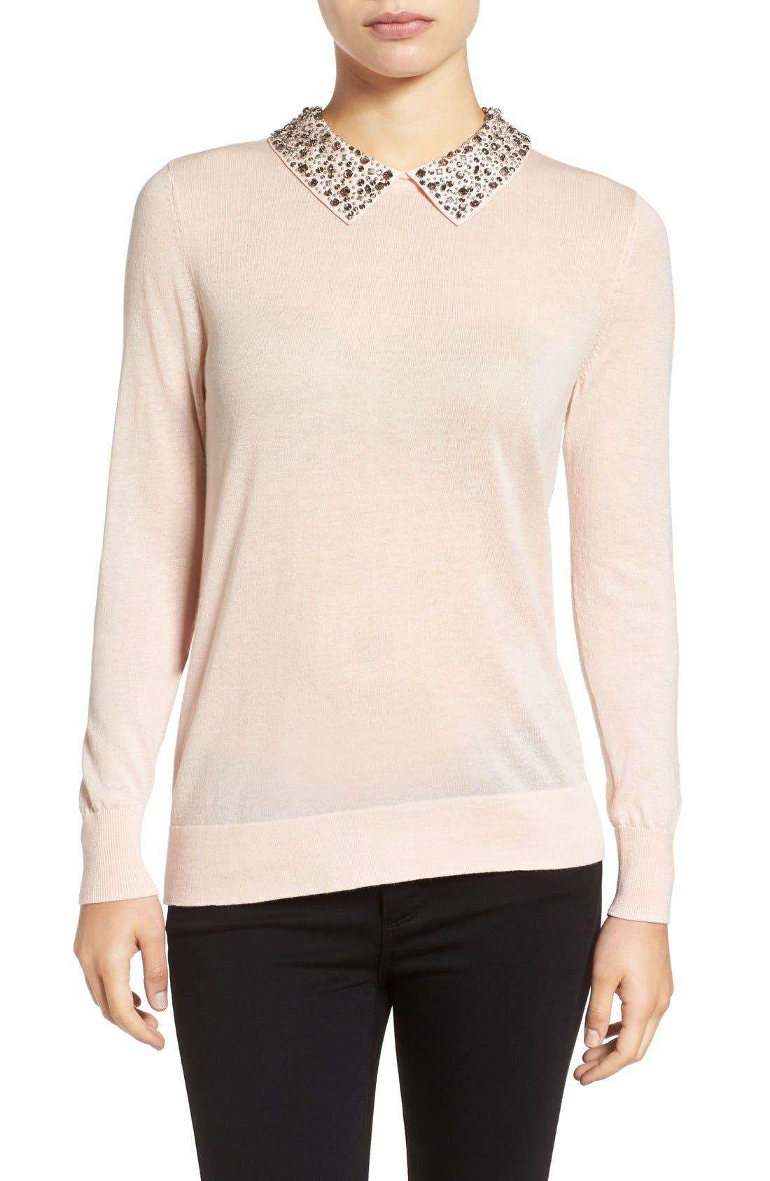 Alternate Image 1 Selected - Halogen® Embellished Collar Sweater (Regular & Petite)