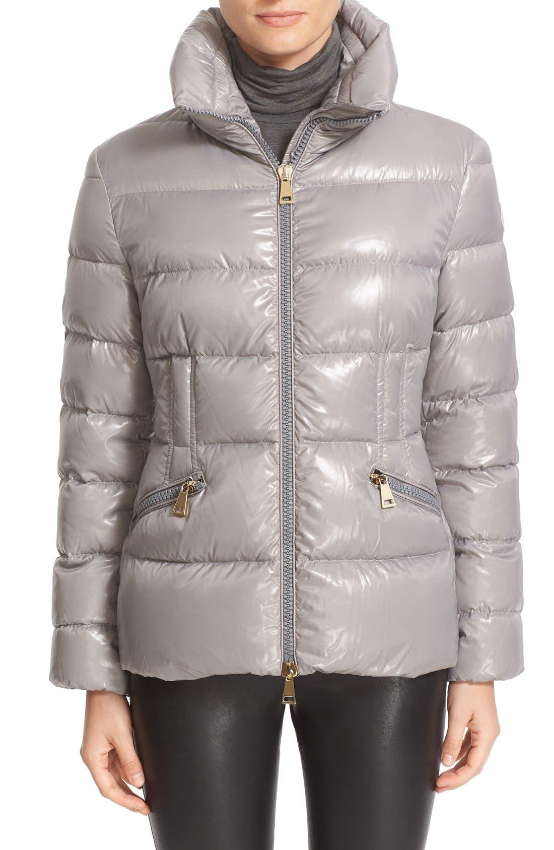 Alternate Image 1 Selected - Moncler 'Daphne' Water Resistant Short Shiny Nylon Jacket