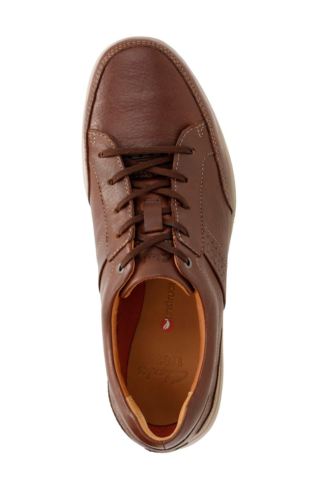 'Unstructured - Lomac' Leather Sneaker,                             Alternate thumbnail 3, color,                             Tan
