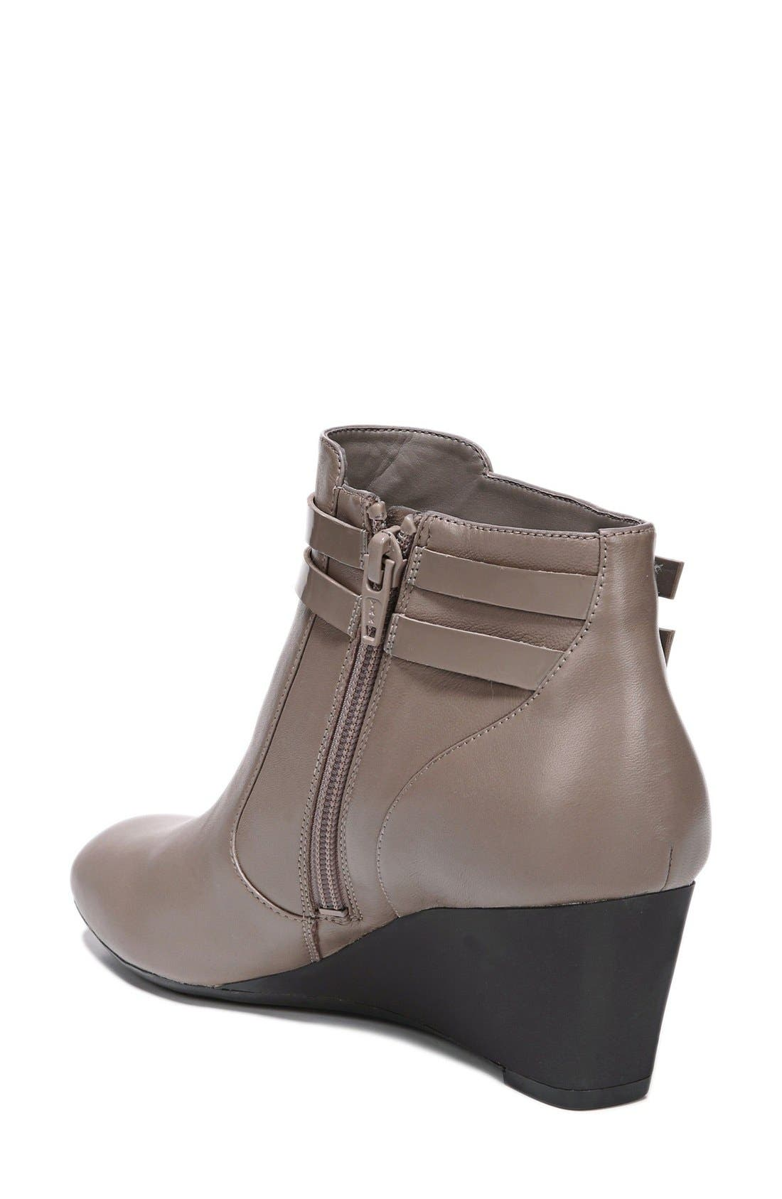 'Nikole' Wedge Bootie,                             Alternate thumbnail 2, color,                             Taupe Leather