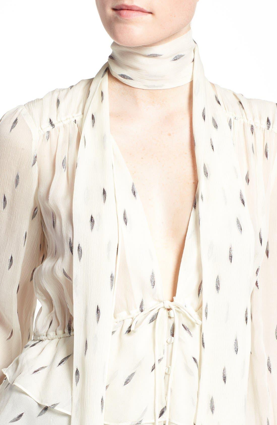 Alternate Image 5  - Olivia Palermo + Chelsea28 Tie Neck Peplum Silk Top