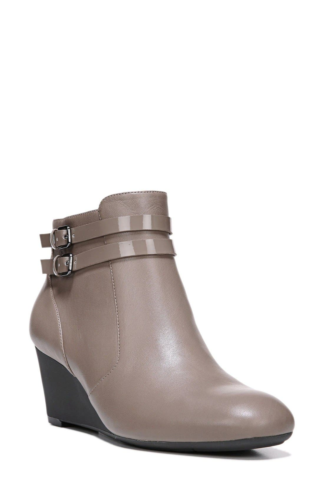 'Nikole' Wedge Bootie,                         Main,                         color, Taupe Leather