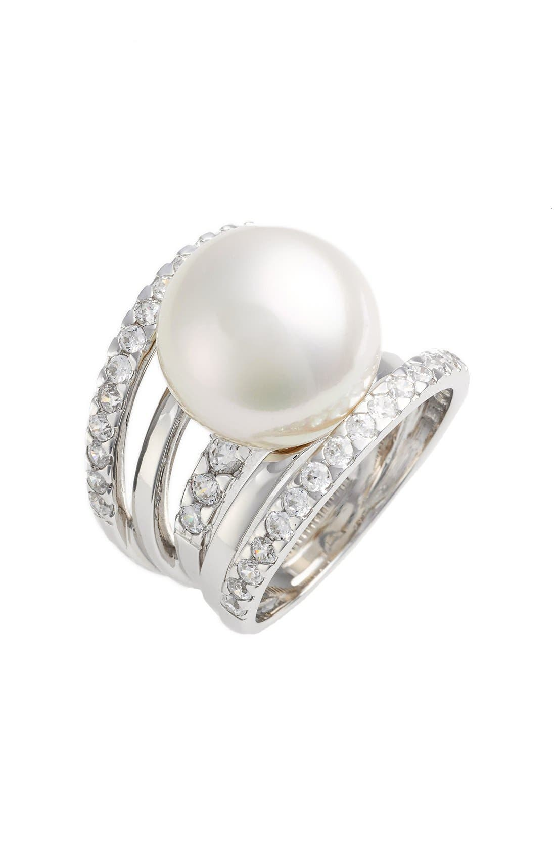 16mm Round Simulated Pearl Cubic Zirconia Ring,                         Main,                         color, White