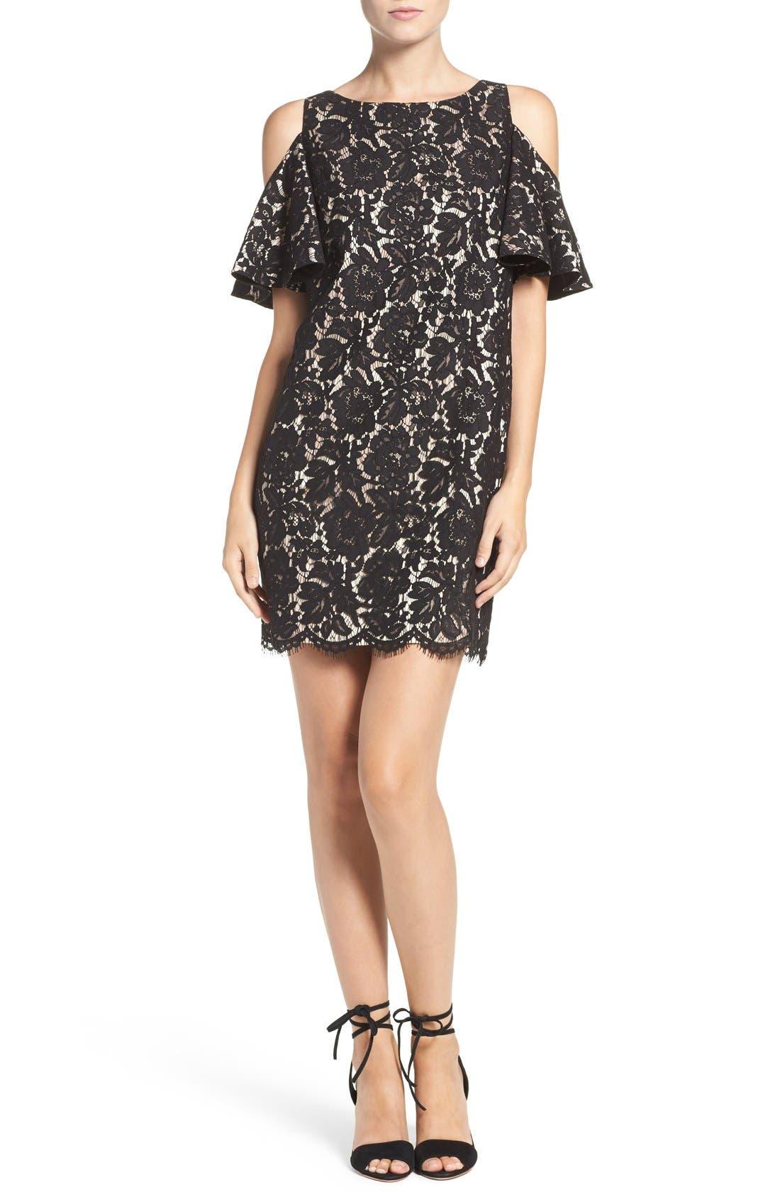 Cold Shoulder Lace Shift Dress,                             Alternate thumbnail 4, color,                             Black