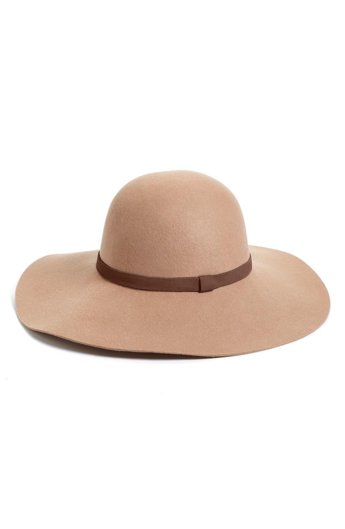 Alternate Image 1 Selected - Caslon® Suede Trim Floppy Wool Hat