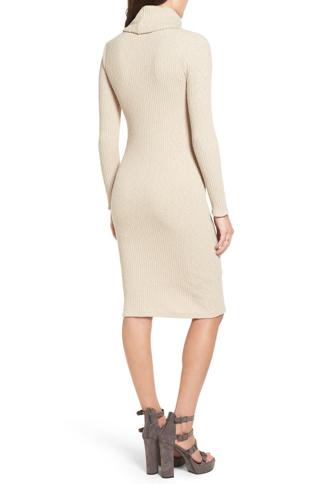 Alternate Image 2  - Lush Turtleneck Body-Con Sweater Dress