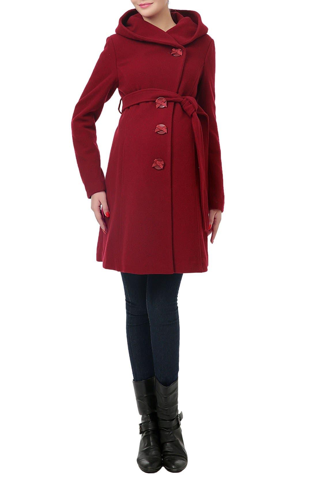 'Lora' Wool Blend Maternity Coat,                         Main,                         color, Wine