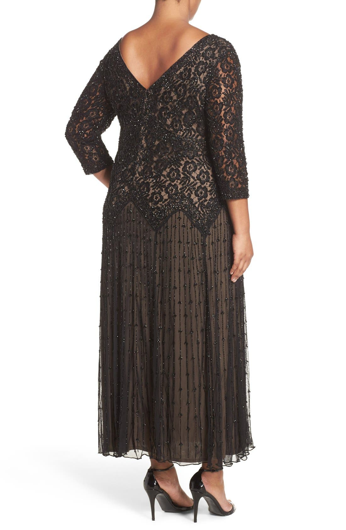 Beaded V-Neck Lace Illusion Gown,                             Alternate thumbnail 2, color,                             Black/ Nude