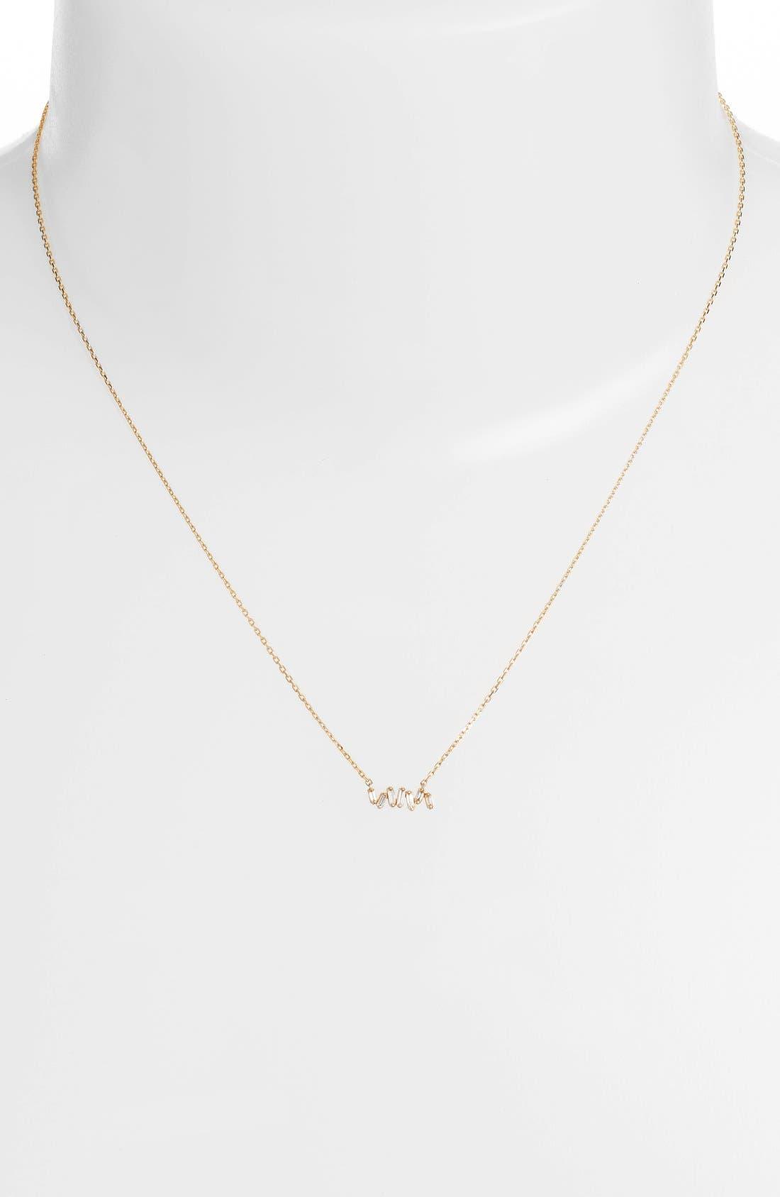 Alternate Image 2  - Suzanne Kalan 'Fireworks' Diamond Baguette Mini Bar Pendant Necklace