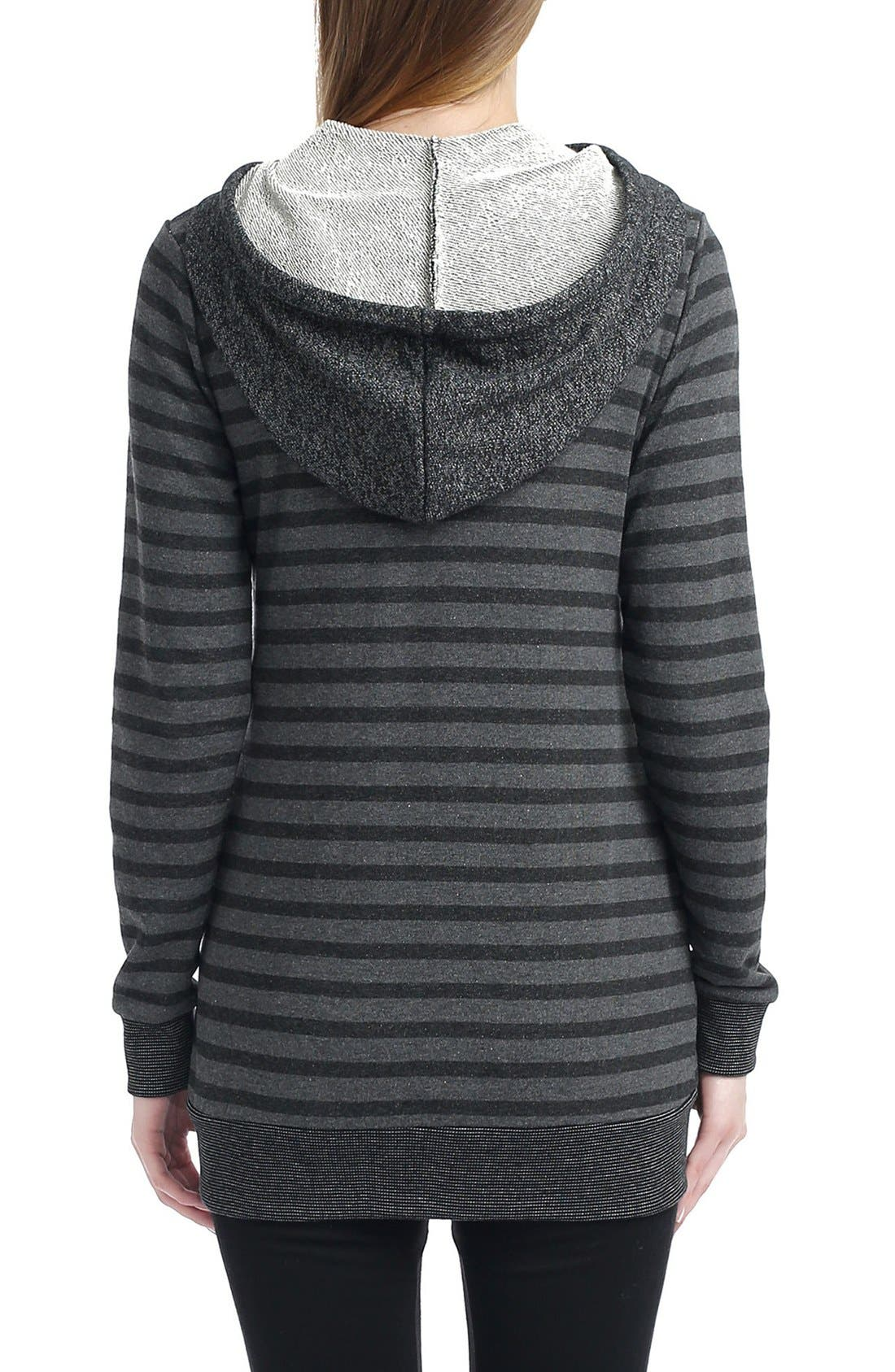 Salena Stripe Maternity Hoodie,                             Alternate thumbnail 2, color,                             Black/ Dark Heather Gray