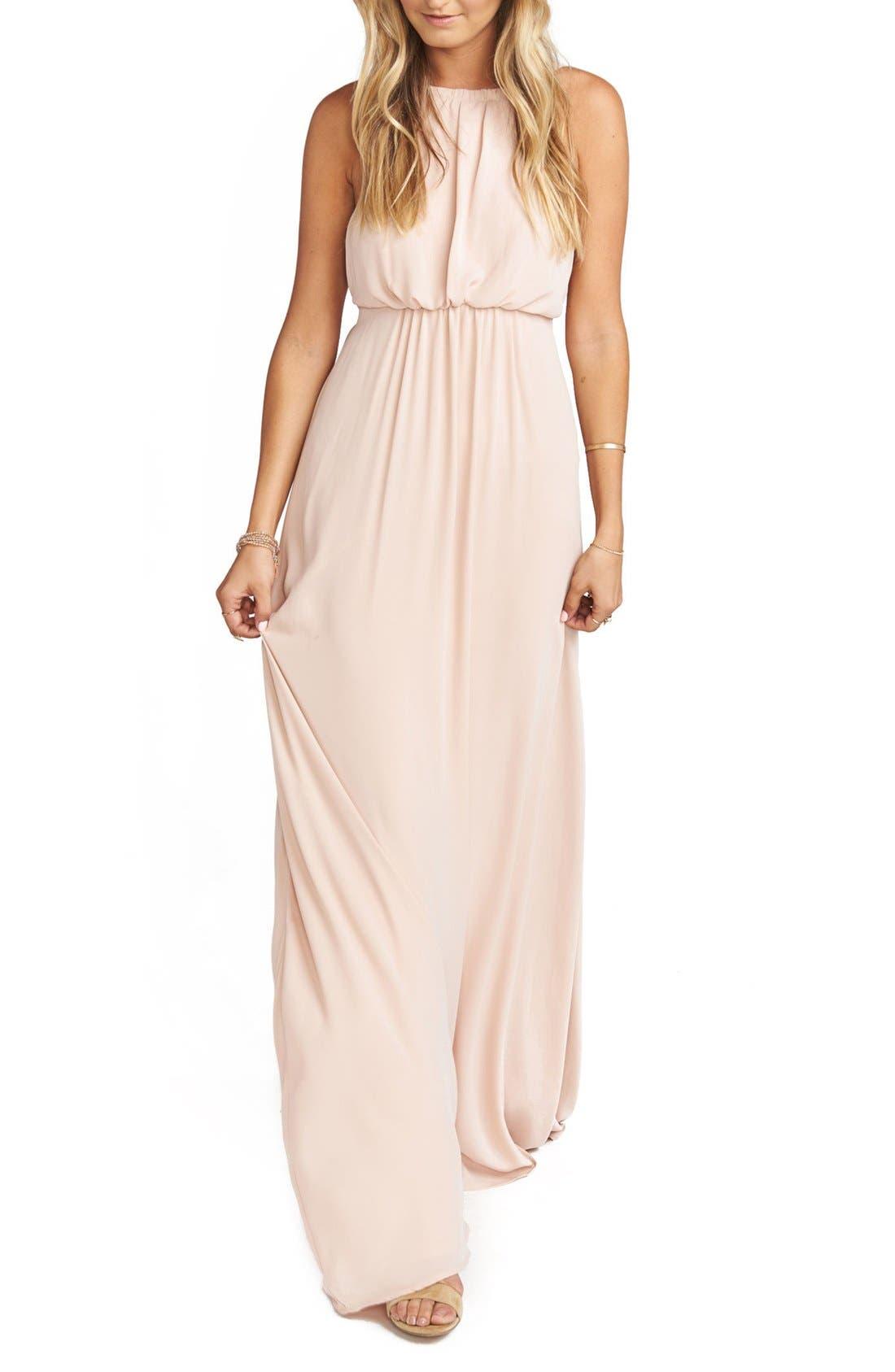 Amanda Open Back Blouson Gown,                             Main thumbnail 1, color,                             Dusty Blush Crisp