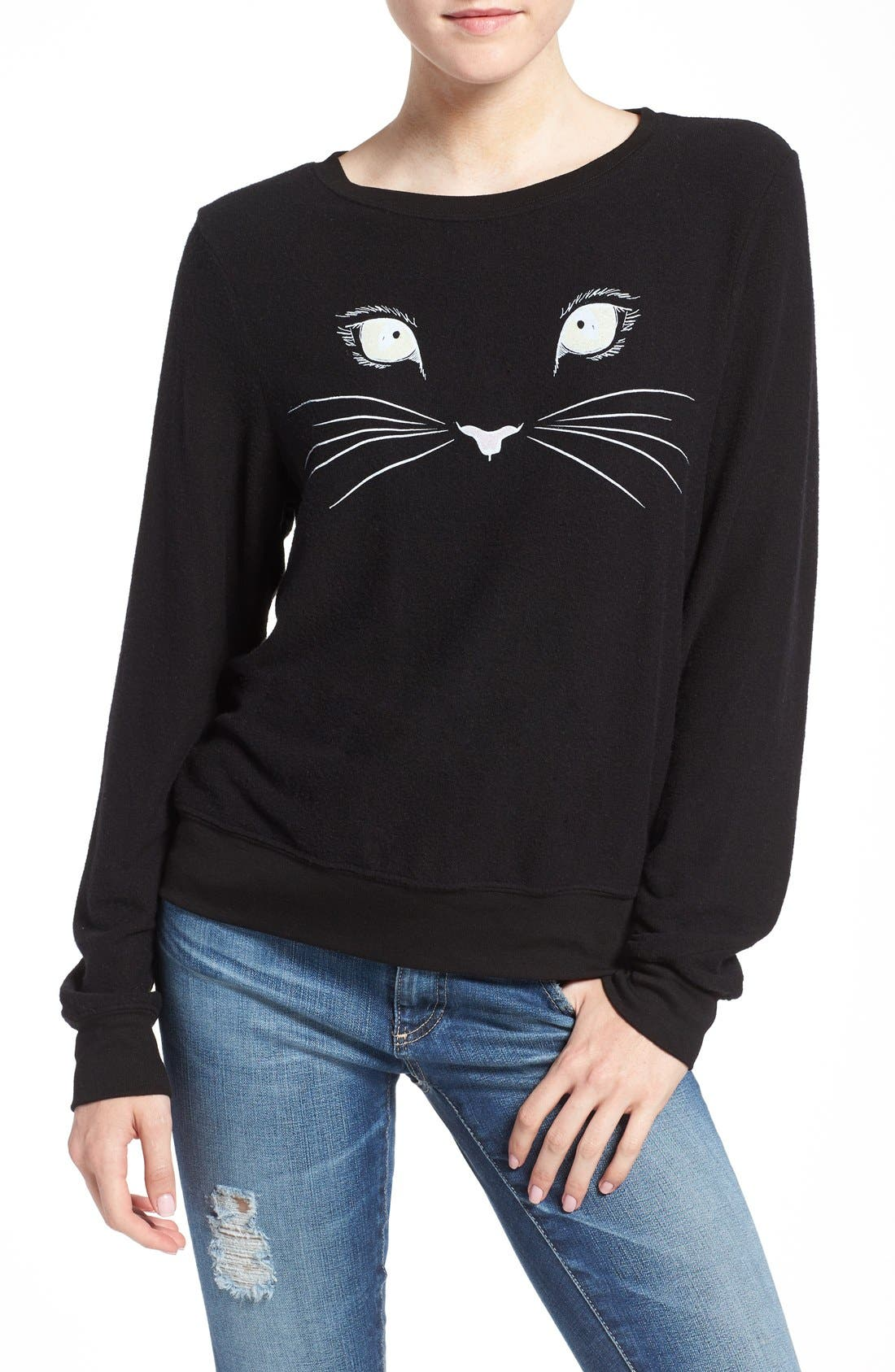 Main Image - Wildfox 'Baggy Beach Jumper - Meow' Pullover