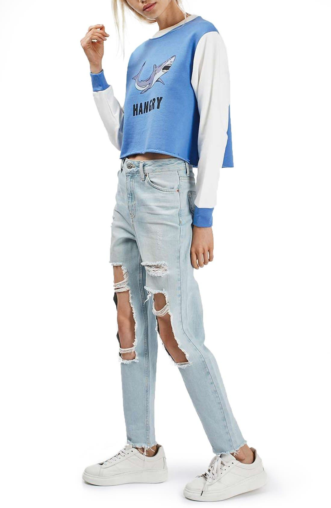 by Tee & Cake 'Hangry' Graphic Crop Colorblock Sweatshirt,                             Alternate thumbnail 2, color,                             Blue