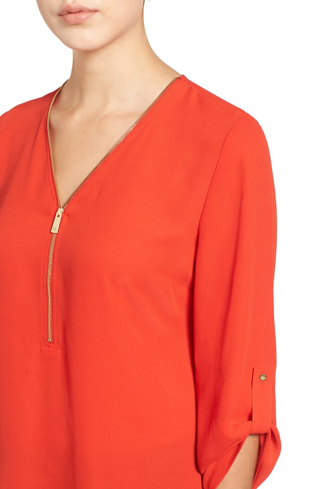 Alternate Image 4  - Chaus Zip V-Neck Blouse