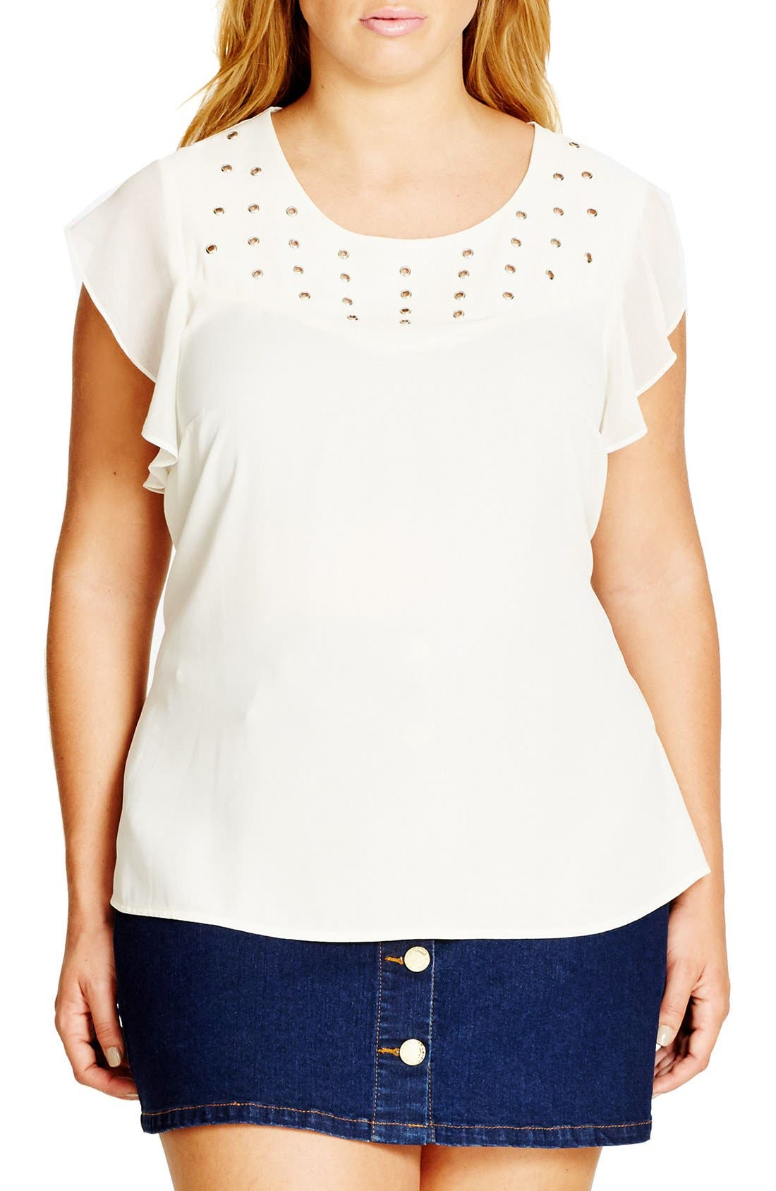 'Attitude' Eyelet Top,                         Main,                         color, Eggshell