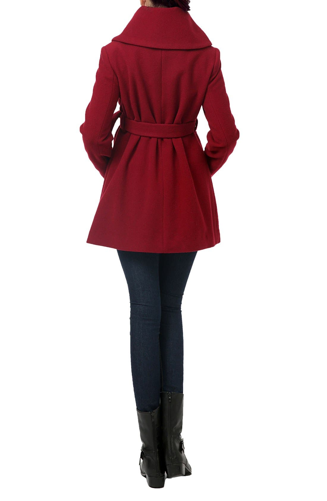 'Mia' High Collar Maternity Coat,                             Alternate thumbnail 2, color,                             Wine