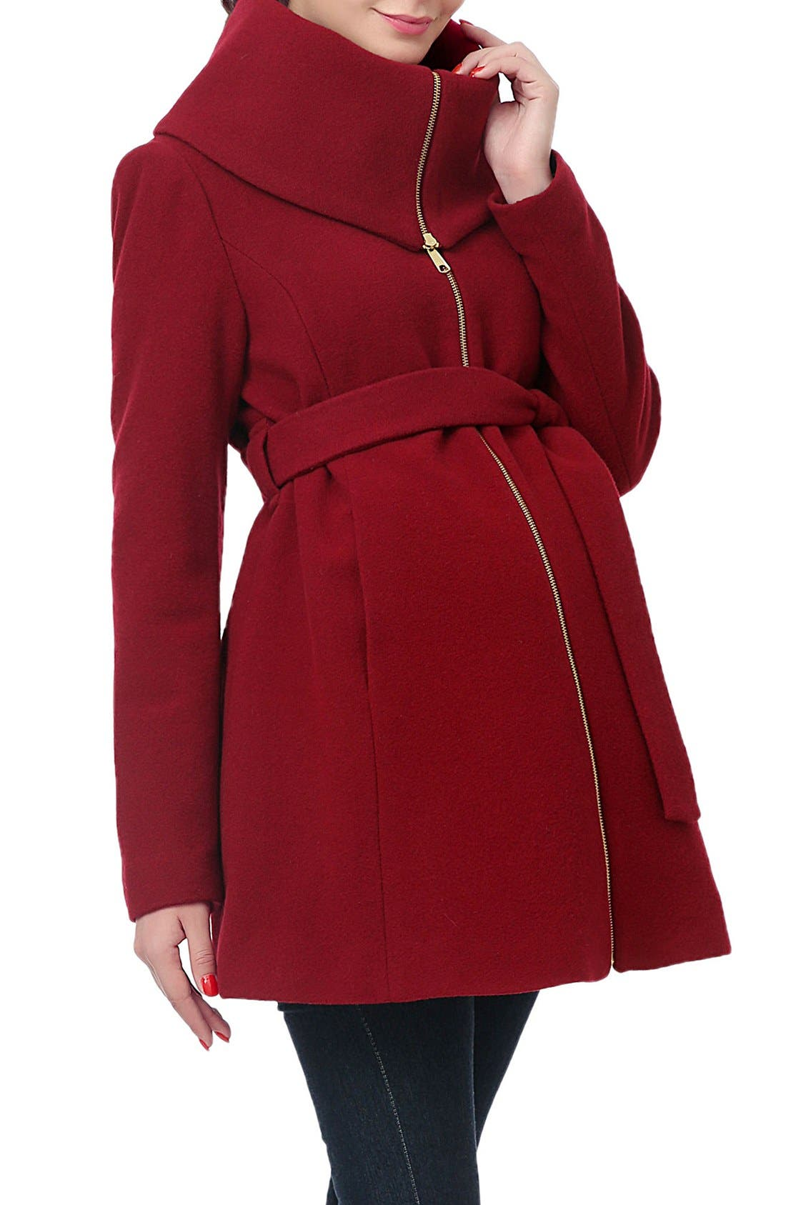 'Mia' High Collar Maternity Coat,                             Main thumbnail 1, color,                             Wine