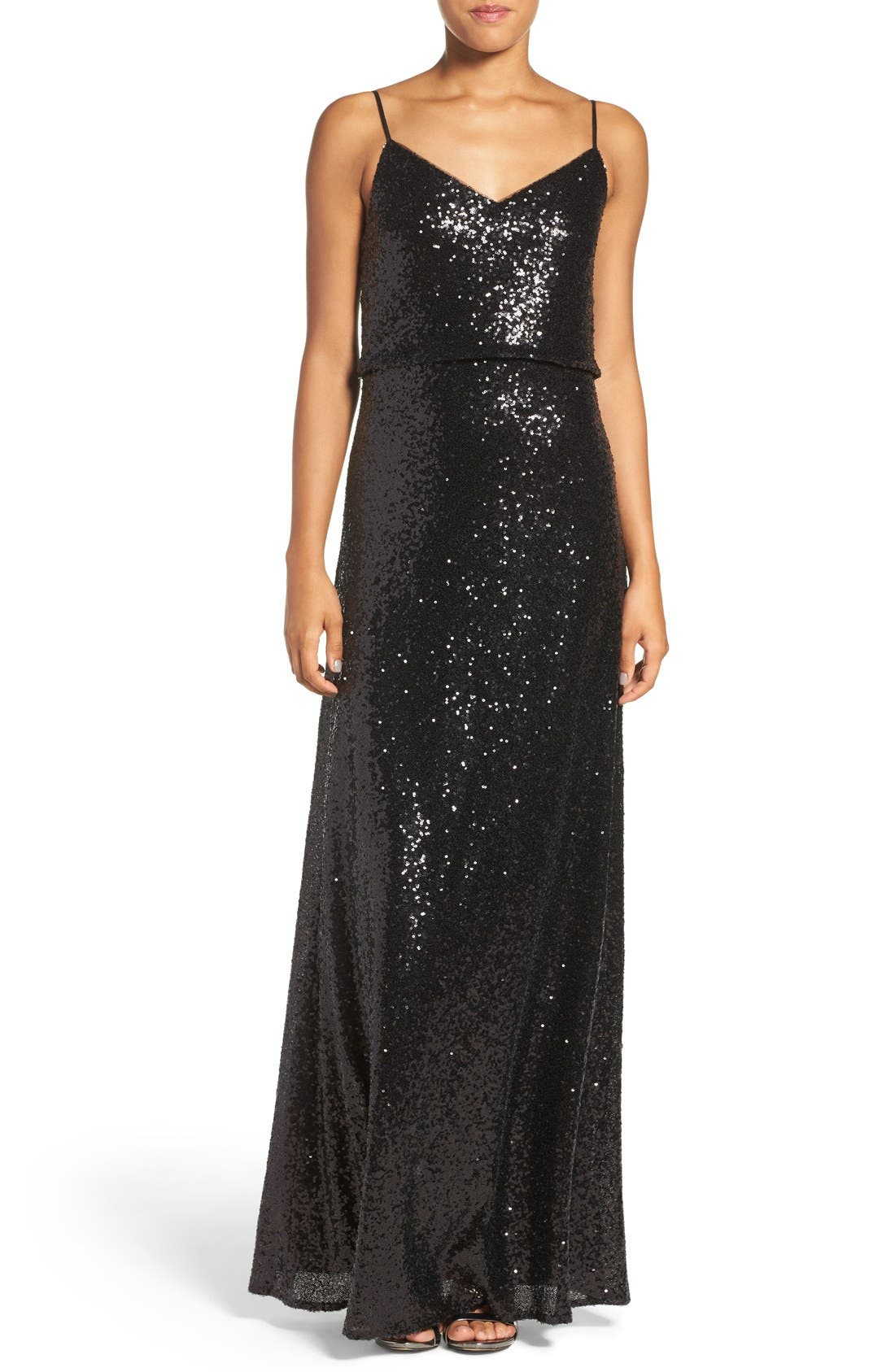 Alternate Image 1 Selected - Jenny Yoo 'Jules' Sequin Blouson Gown with Detachable Back Cowl