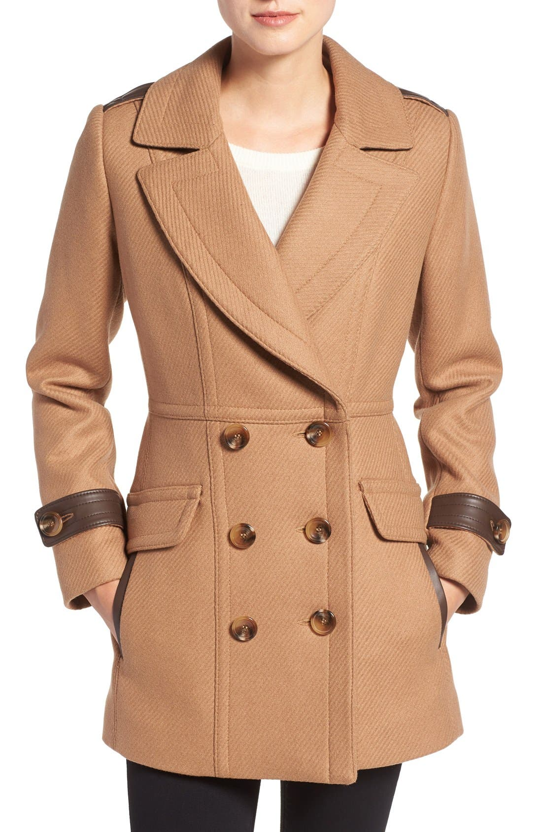 'Chloe' Wool Blend Peacoat,                             Main thumbnail 1, color,                             Camel